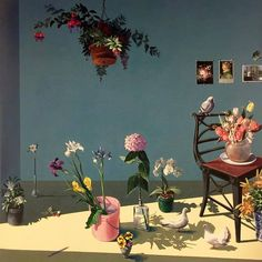 "paul wonner, ""blue room with flowers and pigeons"", 1988, from ""california painters: new work"", 1989."
