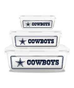 Another great find on #zulily! Dallas Cowboys Glass Food Container Set #zulilyfinds