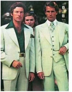 """Mens suits in pale green from a JC Penney catalogue of 1977.     The caption on the blog from which I'm pinning this says: """"They look characters in a B-movie - wealthy German industrialists intent on taking over America's disco ball supply with their stern looks and disorienting clothes."""""""
