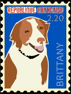 Brittany Poster Postage Stamp Series Dog Art 11 x by GoingPlaces2