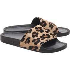 25d47f4ae191 ADIDAS ORIGINALS Adilette Premium Leo Black    Leo pool slides ( 66) ❤  liked on Polyvore featuring men s fashion