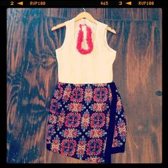 A+ outfit. Loving the pattern on this skirt ($49) and how seamlessly it works with this silky white tank ($42) and red necklace ($45).