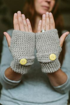 Cosy fingerless glove with Yellow button by UrbanCosy on Etsy, £22.00