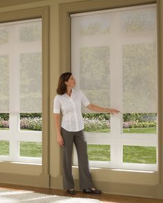 Hunter Douglas roller shades - Beautiful with big windows to filter sunlight but maintain a nice view Living Room Blinds, Living Room Redo, Living Room Windows, Living Rooms, Door Window Treatments, Window Treatments Living Room, Window Coverings, Door Shades, Shades Blinds