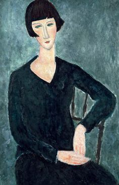 Amedeo Modigliani (Italian, 1884-1920) - Seated Woman in Blue Dress, 1918  oil on canvas