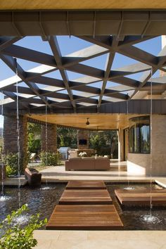 Beautiful Pergola Design Ideas with Exquisite Impression: Amazing Desert Sanctuary (Private Residence) Contemporary Patio Design With Unique. Pergola Designs, Patio Design, Exterior Design, Interior And Exterior, Garden Design, Pergola Ideas, Patio Ideas, Outdoor Rooms, Outdoor Living