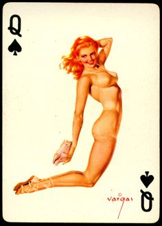 Alberto Vargas - Pin-up Playing Cards (1950) - Queen of Spades