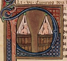 This is a c1275 Franco-Flemish depiction of a couple taking baths in adjoining tubs. Contrary to popular belief, even in the medieval period hygiene was considered a sign that you were civilised.
