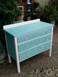 Drawer Chest in Annie Sloan provence with old white stencil roller xx