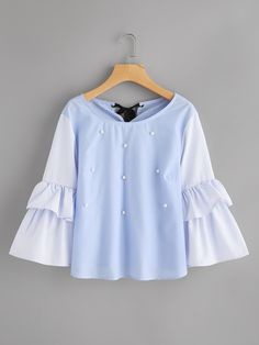 Shop Contrast Striped Frill Sleeve Tie Back Pearl Beading Blouse online. SheIn offers Contrast Striped Frill Sleeve Tie Back Pearl Beading Blouse & more to fit your fashionable needs. Look Fashion, Hijab Fashion, Girl Fashion, Fashion Outfits, Fashion Design, Blouse Styles, Blouse Designs, Outfits For Teens, Cute Outfits