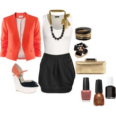 black, gold and coral, created by bbrink685.polyvore.com
