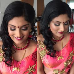 Anu's Reception Ouftit. #makeupbyabinii #mylondonbride #ilovemyjob #manojhwedsanu Gold Mangalsutra, Hinduism, Jewelery, Reception, Saree, Hairstyle, Chain, My Love, Makeup