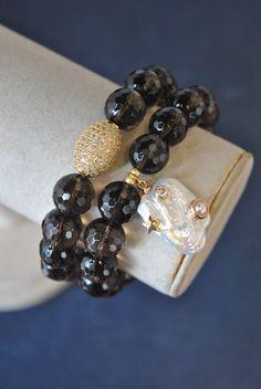 Jewelry Ideas, Diy Jewelry, Handmade Jewelry, Jewelry Making, Jewellery, Charm Bracelets, Bracelet Set, Beaded Bracelets, Smoky Quartz