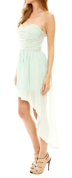 Mint cascading dress this would look so cute with boots