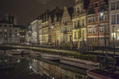 Check out Graslei in medieval Ghent at night by Patricia Hofmeester on Creative Market
