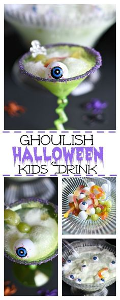 Simply put, we are in love with all things Halloween. So many fun ways to celebrate, and this Ghoulish Halloween Kid's Drink is one of our favorites. Halloween Drinks Kids, Halloween Goodies, Halloween Food For Party, Halloween Desserts, Easy Halloween, Holidays Halloween, Halloween Costumes For Kids, Halloween Treats, Halloween Stuff