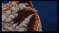 ・「風の谷のナウシカ(劇場/84)」  庵野作画。これまた有名な巨神兵ビームの作画です。ディテールは少なく、しかし高密度さを保っている作画は30年経った今でも素晴らしいと感じる。やはりこちらも煙の押し潰される描写など、とてもフォトリアル。