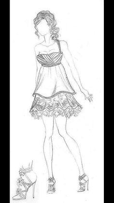 Diseño de moda vestido doble