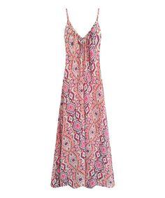 Look at this #zulilyfind! Pink Geometric Maxi Dress #zulilyfinds