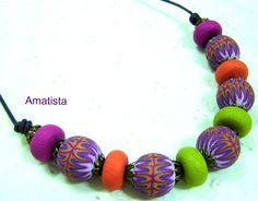 Collar corto murrina naranja-lila | Flickr - Photo Sharing!