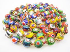 Long Millefiori Necklace Venetian Art Glass by LadyandLibrarian #ladyandlibrarian