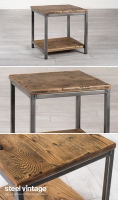 Minimalist design inspired by vintage industrial storage shelving found in old warehouses. A simple, stunning industrial style side table for your home or office.