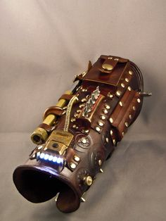 Steampunk leather bracer Computer Tech by IsilWorkShop.