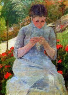 Woman with needlework Sun - Mary Cassatt