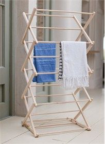 Buy The Wooden Clothes Horse by Garden Trading Online UK. Contemporary Designer Clothes Horse from Garden Trading's Wooden Collection. Modern Garden Trading Wooden Clothes Horse Made From Beech Wood. Wooden Clothes Drying Rack, Pipe Clothes Rack, Clothes Dryer, Clothes Line, Clothes Horse, No Closet Solutions, Bois Diy, Diy Pipe, Horse Crafts