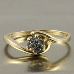 14K Yellow Gold With Rough Diamond  Jet Black Raw by LiansElegance