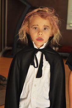 Vampire kid costume cape, white shirt