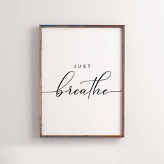 Grandma Quotes Discover Just breathe Printable Home decor office decor Inspirational Quote motivational wall art custom color Relax wall art Yoga decor Motivational Wall Art, Inspirational Quotes, Wall Art Quotes, Yoga Dekor, Yoga Kunst, Therapist Office Decor, Counseling Office Decor, Citations Yoga, Cuadros Diy