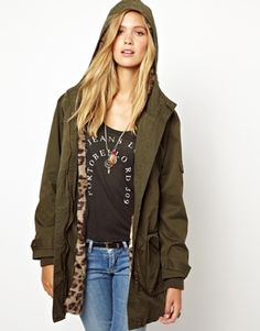 / Pepe Jeans Parka With Leopard Faux Fur Lining