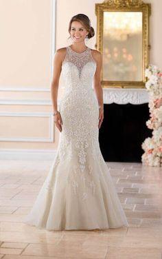 6435 Elegant High Neck Wedding Dress with Lace Beading by Stella York