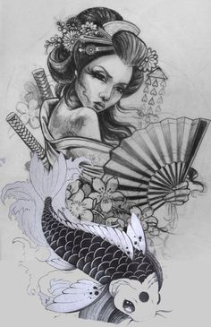 tattoos in japanese prints Geisha Tattoos, Geisha Tattoo Design, Japan Tattoo Design, Tattoo Drawings, Body Art Tattoos, Girl Tattoos, Sleeve Tattoos, Art Drawings, Japanese Tattoo Art