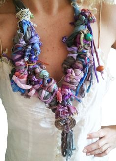 Chunky Fiber Scarf Necklace by UpcycledAKL on Etsy