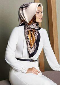 "Armine Silk Hijab Scarf Spring Summer White, gold and black vintage pattern Turkish Designer silk scarf Pure SilkSilk Satin weaveSquare Scarf: 90 x x ""Armine Ipek Esarp""Made in Turkey. Turkish Hijab Style, Turkish Fashion, Islamic Fashion, Muslim Fashion, Hijab Fashion, Fashion Outfits, Beau Hijab, Hijab Style Tutorial, Modele Hijab"