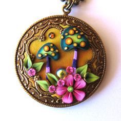 Toadstool Garden Pendant Necklace, Polymer Clay Pendant, Whimsical Wearable Art, Mushroom Jewelry by Claybykim on Etsy