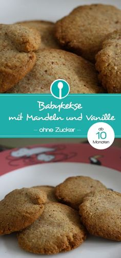 Mandelkekse mit Vanille für Babys ab 10 Monaten – ohne Zucker Sugar-free almond cookies with vanilla for babies from 10 months and toddlers. So tasty, you have to try them Biscuits Packaging, Cookie Packaging, Homemade Baby Foods, Homemade Cookies, Baby Food Recipes, Baking Recipes, Baby Snacks, Almond Cookies, How To Make Cookies