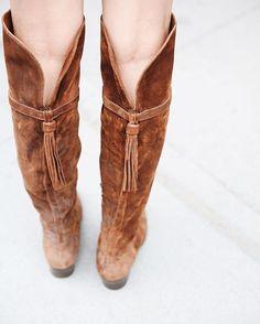 Perfect with skinny jeans and mini skirts; The Frye Company Clara Tassel OTK…