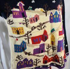 Avenue 3X long Christmas Sweater  with village snow scene XXX