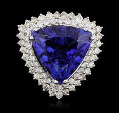 14KT White Gold 16.54ct GIA Cert Tanzanite & Diamond Ring A5874(