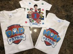 Family Birthday Shirts, 2nd Birthday Boys, Family Birthdays, 3rd Birthday Parties, Family Shirts, Birthday Ideas, Birthday Gifts, Paw Patrol Birthday Theme, Paw Patrol Birthday Shirts