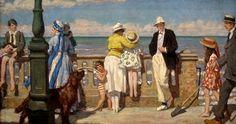 ~ René-Xavier Prinet ~ French artist, 1861-1946: La Digue de Cabourg, 1925
