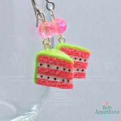 Watermelon Cake Slice Earrings by Bon-AppetEats on DeviantArt
