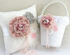 Flower Girl Basket and Ring Bearer Pillow Set in White by SolBijou, $205.00