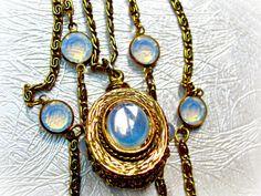 Goldette Fob Necklace, Triple Chain, Faux Moonstone, Chicklet, Bezel Set Aspirin Crystals,Pendant, Victorian Revival, Opaline
