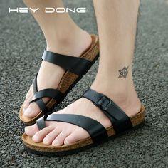 Aliexpress.com: Comprar Heydong hombre corcho verano sandalias planas hombres y mujeres zapatillas cuñas playa plataforma Shoes hombre talla 39 ~ 47 de zapatos de cuero de los hombres fiable proveedores en Afency