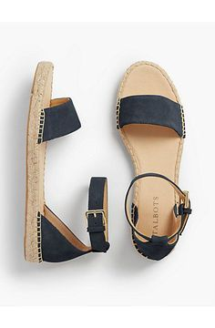 Ivy Ankle-Strap Espadrille Flats - Silk Suede - Talbots. Cute sandals for Spring or Summer!