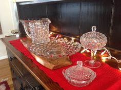 Fostoria American lemon dish, covered candy dish and pitcher